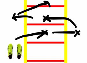 Koodinationsübung an der Koordinationsleiter, beidbeinig diagonal